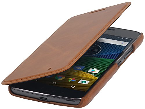 StilGut Book Type Case, Hülle Leder-Tasche für Lenovo Moto G5. Seitlich klappbares Flip-Case aus Echtleder für das Original Lenovo Moto G5, Cognac