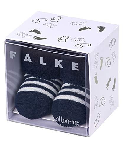 FALKE Unisex Baby Erstlingsringel B SO Socken, Blickdicht, Blau (Marine 6120), 0-1 Monate (Neugeborene Ι 50-56cm)