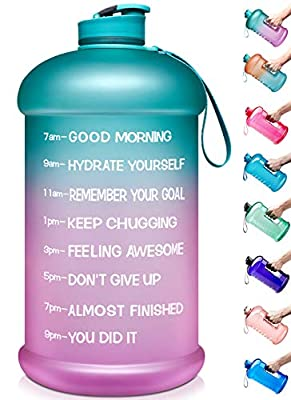 Venture Pal Large 128oz Leakproof BPA Free Fitness Sports Water Bottle with Motivational Time Marker to Ensure You Drink Enough Water Throughout The Day-1 Gallon-Green/Purple Gradient