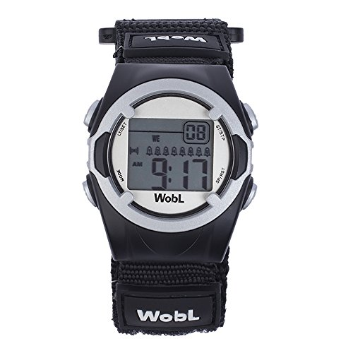 WobL Vibrating 8-Alarm & Repeating Countdown Timer Watch for Kids & Adults, Medication/Sports/Meetings/Potty Reminders, BlackWobL (Black) Vibrating Reminder Watch | 8 Alarm
