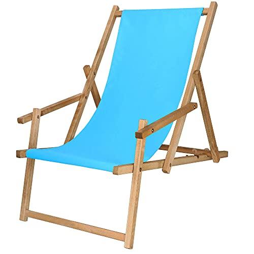 SPRINGOS Sedia a sdraio in legno con braccioli, 3 livelli, pieghevole, per balcone, giardino, telaio impregnato (blu)