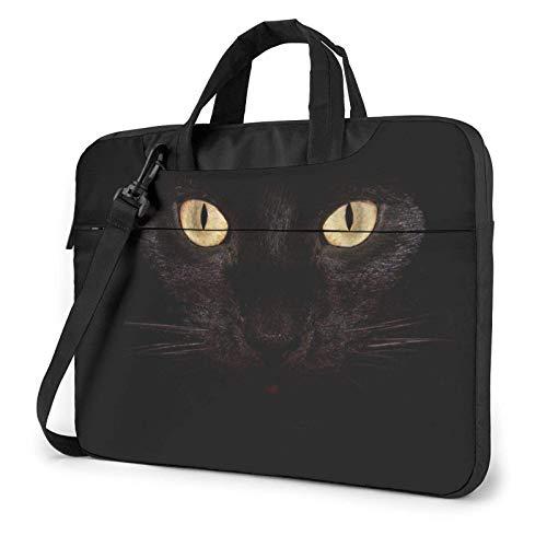 Bolso Bandolera Impermeable para Ordenador portátil, Funda con Estampado de Ojos de Gato Negro, Funda para Ordenador portátil de 15,6 Pulgadas, maletín para Ordenador portátil