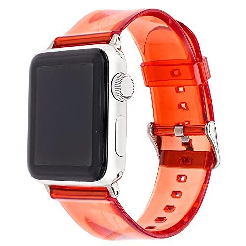 CHENPENG Correa Deportiva Transparente Compatible con Apple Watch 1/2/3/4/5/6, Pulsera Deportiva, Brazalete, Correa de TPU, Bandas Inteligentes, Mujer, Hombre, Linda Chica,11,38mm