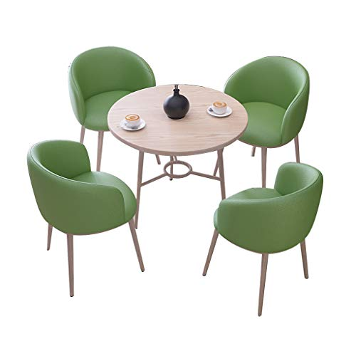Combination chair Retro Lounge Chairs,Fabric Wooden Legs Reception Chair Western Restaurant Balcony Patio Small Round Table Chair Combination (Color : Green)