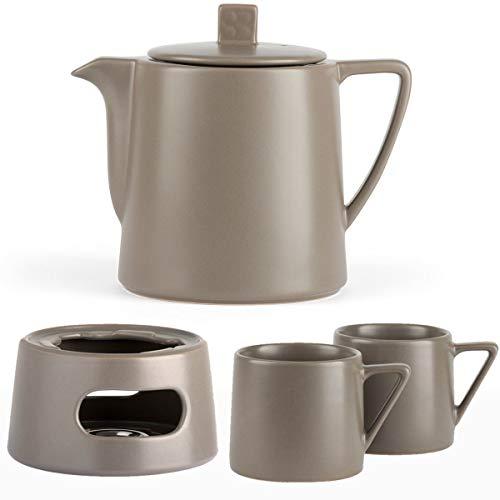 Bredemeijer keramiek theepot set grijs 1,0 liter met thee-filterzeef roestvrij staal met stoofje en theebeker (2 kopjes) grijs - Serie Lund