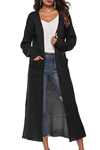 Cardigan Maglione Lana Donna Moda Giacca Lunga Aperta Cappotto in Maglia Autunno Inverno Giubbotto Elegante Leggero Maglioni Top con Spacco Capispalla Ragazza Giacche Oversize Trench Jacktet Outwear