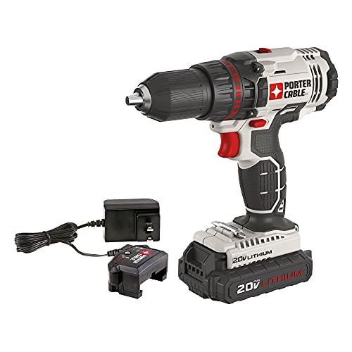 PORTER-CABLE 20V MAX Cordless Drill/Driver Kit, 1/2-Inch (PCC601LA)
