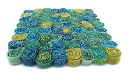 feelz - Untersetzer aus Filz Spirale eckig 22x22cm smaragd türkis blau grün Filzuntersetzer Handarbeit Topfuntersetzer bunte Filzkugel Untersetzer - Fairtrade