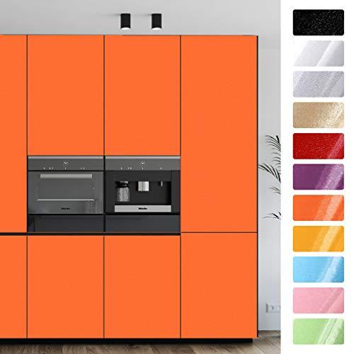 IMS Pellicola Autoadesiva per Cucina 0.4 x 3M Parati Carta da Parati Adesivo per Mobili PVC di Alta qualità Impermeabile Membrana per Armadio Decorativa Cassetto Piano Lavoro Porte (Arancione)
