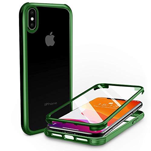 PHONEAURA Carcasa de cristal de 360 grados para iPhone X XS (protección completa, protección completa, carcasa doble) (iPhone X y iPhone XS, verde)