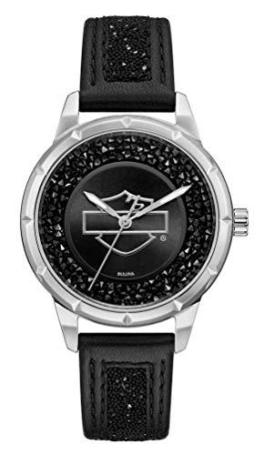 Harley-Davidson Women's Open B&S Crystal Embellished Watch, Leather Strap 76L192