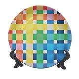 Piatto decorativo in ceramica a scacchi, 20,3 cm, colori arcobaleno, grandi e piccoli quadrati in stile acquerello, geometrico, decorativo in ceramica, per tavolo da pranzo, decorazione per la casa