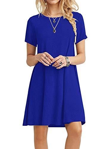 POPYOUNG Women's Summer Casual Tshirt Dresses Beach Dress Medium, Royal Blue