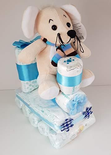 Windeltorte blau, Windel-Lokomotive, Windelzug,Pampers Gr.3, Baby Geburt, Geschenk zum Taufe, Babyparty Junge