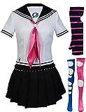 Angelaicos Mioda Ibuki Costume High School Uniform Dress Cosplay Party Outfits (Medium) White