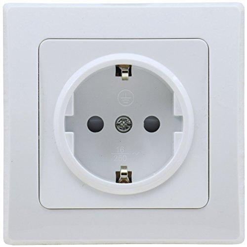 DELPHI Steckdose Weiß 230V Schutzkontakt-Steckdose mit erhöhtem Berührungschutz Unterputz Installation Weiß