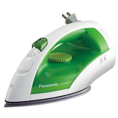 Panasonic Dry and Steam Iron with Titanium Coated Soleplate, Precision Temperature Dial – 1200 Watt – NI-E250TR (White/Green)