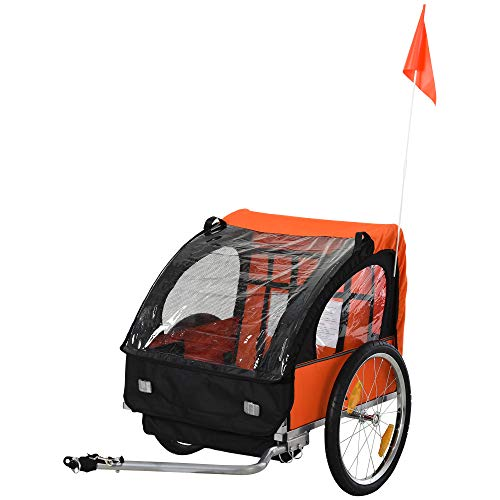 HOMCOM Kinderanhänger Kinderfahrrad geeignet für 2 Kinder, Stahlrahmen, Sitzträger mit Sicherheitsgurt, für Kinder ab 18 Monaten, Oxford-Gewebe, Stahl, 126x78x79 cm, Orange+Schwarz