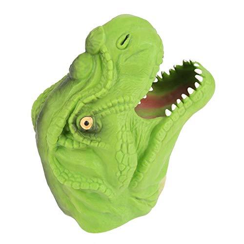 Marioneta de mano de dinosaurio, Marioneta de cabeza de dinosaurio suave, Niños, Historias interactivas Juguete de títere de mano, Juego de roles interesante (Mano verde)
