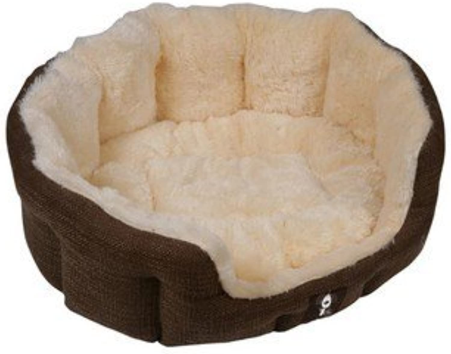 PetEssentials Yap Semmula Heavy Duty Brown Oval Dog Bed (EcoFriendly Packaging) 22 INCH