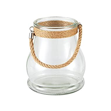 7  Clear Glass Lantern with Rope hanger,Lanyard Tea Light / LED Candle Holder Ideal Gift for Wedding, Spa, Bridal, Aromatherapy, Reiki, Chakra, Votive Candle Nautical Citronell