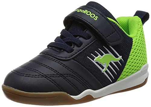 KangaROOS Unisex-Kinder Super Court EV Sneaker, Dark Navy/Lime 4054, 35 EU