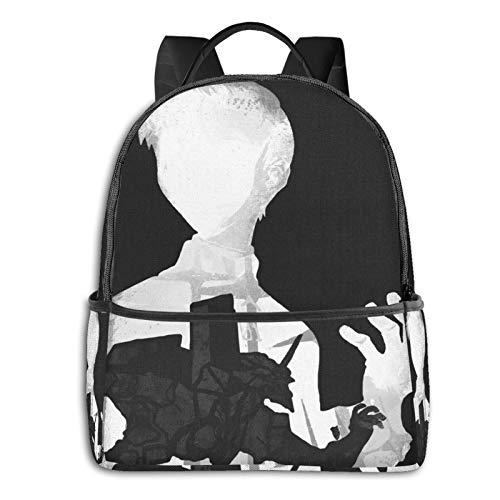Monocromo Shinji EVA bolsa estudiantil unisex de dibujos animados impresos escuela mochila universitaria 36,8 x 30,5 x 12,7 cm