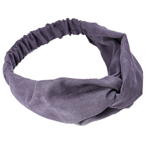 Femmes Multicolore Turban en velours bandeau twist croisé exercice Hairband Headwear