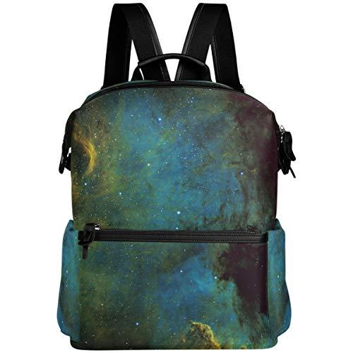 Oarencol Grüner Galaxy Space Nebel Rucksack 3D Universum Schule Buch Tasche Reisen Wandern Camping Laptop Daypack