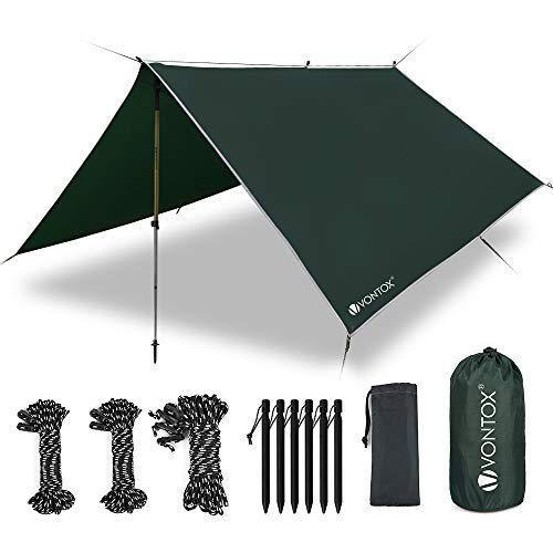 V VONTOX Tent Tarp Waterproof - 10 x 10 Ft, Camping Tarp, Rain Fly Tent Tarp Light Ripstop Fabric, PU3000mm Anti-UV, 6 Aluminum Tent Stakes + 8 Guy Lines, for Camping, Travel, Outdoor, Hammocks