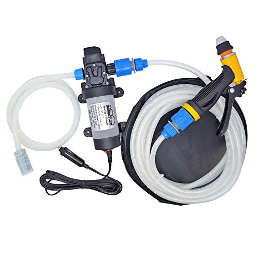 theBlueStone 12V High Pressure Car Wash Pump Set Portable Self-Priming 80W 130PSI for Car Home Garden Watering Cleaning Pet Bathing