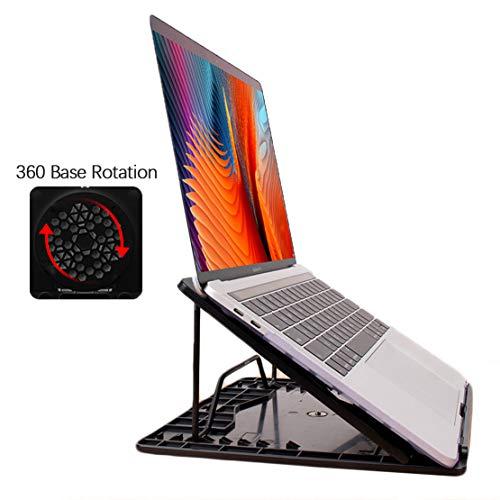 AKT Laptopständer Handy Ständer Set Heben Faltbar Kühlbasis mit 360 Rotationsfunktion,Black