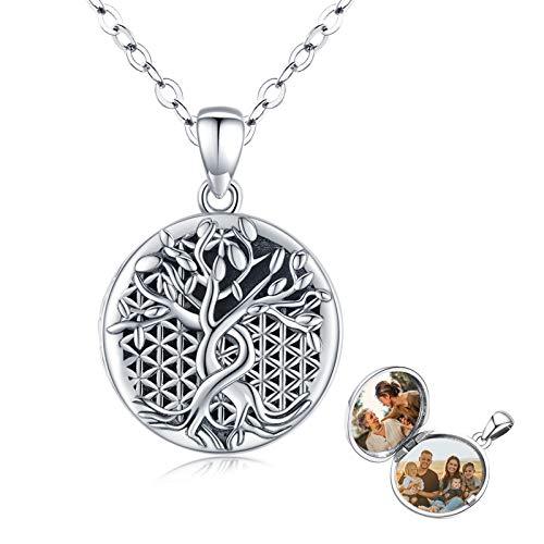 Eusense Collar Medallón para Fotos, Colgante Plata de Ley 925 árbol Genealógico, Joyería Conmemorativa La Flor de La Vida para Mujer Niñas