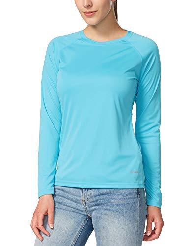 BALEAF Women's Long Sleeve Shirts UPF 50+ Sun Protection SPF Quick Dry Lightweight T-Shirt Outdoor Hiking Runing Fishing Blue Size XXL