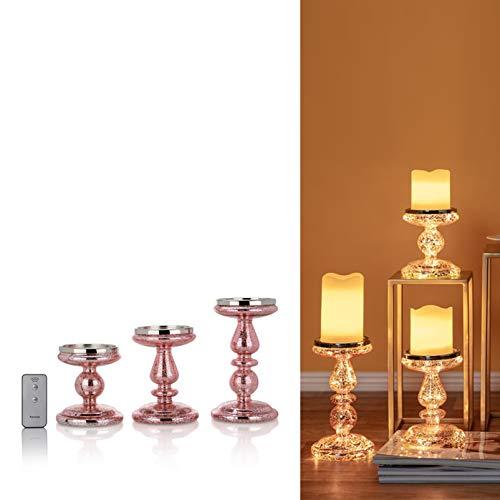 DbKW (Rosegold/3) 3er Set Kerzenständer/Kerzenhalter mit LED-Beleuchtung und Timer. Wählbar in Gold oder Silber, Geeignet für Stumpenkerzen…