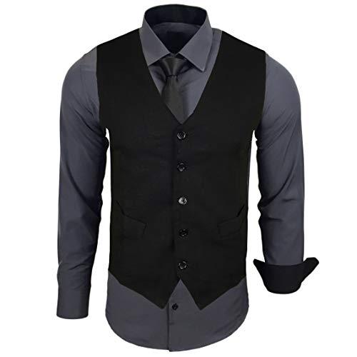Rusty Neal Herren Hemd mit Weste Krawatte Anzugs Sakko Business Hochzeit Freizeit Hemden Set wählbar RN-44-HWK, Größe:L, Farbe:Anthrazit
