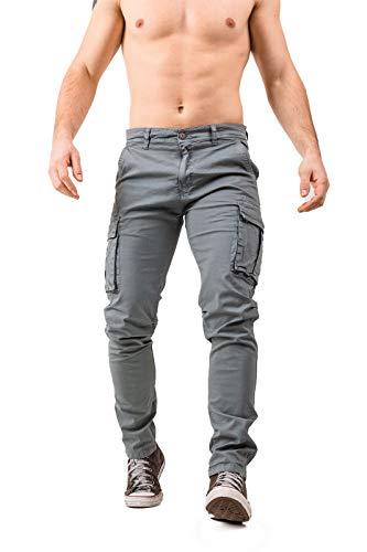 Instinct Pantaloni Uomo Cargo con Tasche Laterali Tasconi Multitasche Slim Fit Polsino Jeans Cotone 701 (46, Grigio 701)
