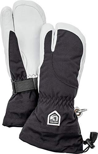 HESTRA Skihandschuhe für Damen, bei kaltem Wetter, DREI-Finger-Handschuhe aus Leder L Black/Off White