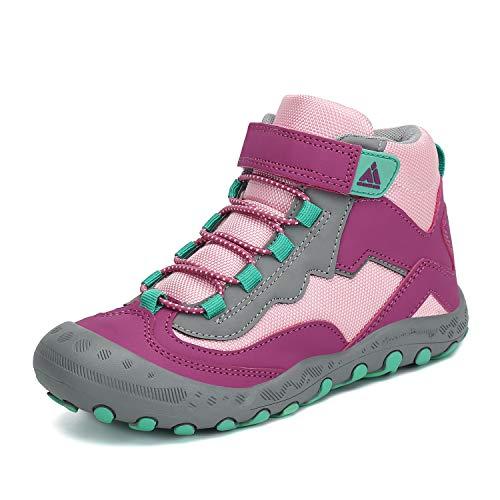 Mishansha Trekkingschuhe für Kinder Wanderschuhe Leicht Sommer Mädchen Sneaker Schnellverschlüsse Wander Schuhe Sportiva Unisex Violett 24 EU