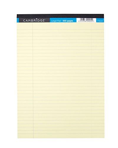 Cambridge Legal Block perforiert zum Abreißen schwach liniert mit Rand 100 Seiten A4 10 Stück gelb