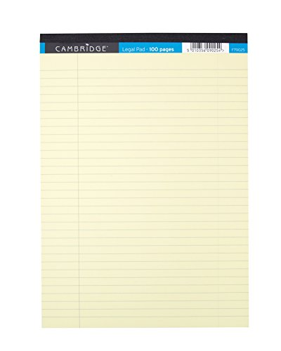 Cambridge Legal Pad - Paquete de 10 bloques de notas perforados A4, amarillo
