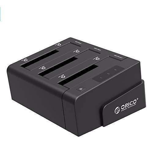 ORICO USB 3.0 zu SATA Offline Klon Festplatten Dockingstation, 3-Steckplatz Festplattengehäuse für 2,5 und 3,5 Zoll SATA HDD/SSD bis zu 3X 12TB mit 12V 5A Netzteil (Werkzeugfrei, LED Statusanzeige)