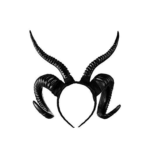 Sungpunet Halloween-Haar-Zusatz Kreative Schafe Horn Form Kopfbedeckung handgemachte DIY Props tragbare Haarband Cosplay Zubehör Dämon Das Böse Stirnband 1Set Schwarz