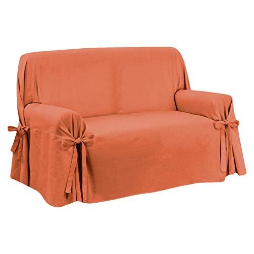 Copridivano Fiocco Lacci 2 3 Posti Cotone Tinta Unita Salva Divano Vari Colori (Arancio, 3 posti)