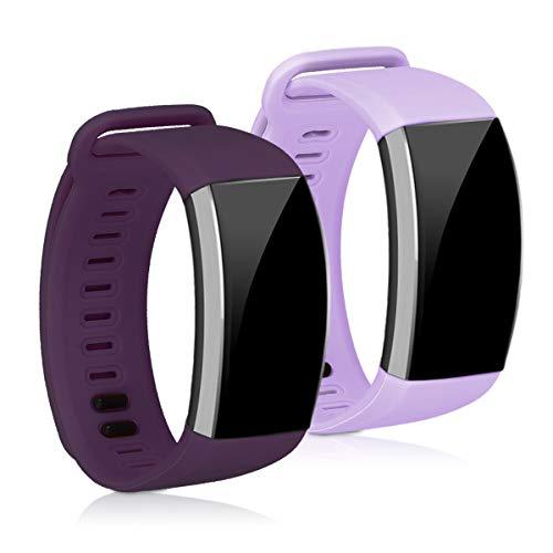 kwmobile 2X Brazalete Compatible con Huawei Band 2 / Band 2 Pro - Pulsera de Silicona púrpura Pastel/Violeta sin Fitness Tracker