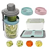 PHAREGE Spiralizer and Grater for Kitchen, Vegetable Spiralizer Handheld for Zucchini Noodles and Pasta, Julienne Slicer Grater for Cheese, Potato, Carrot