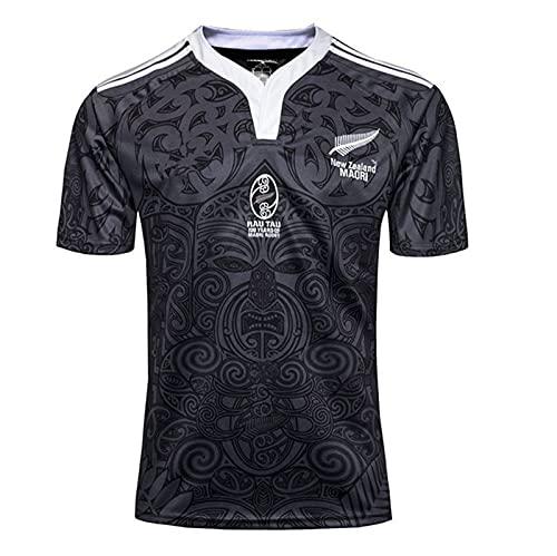 HBRE Rugby Jersey,Nueva Zelanda Jersey de Rugby 100 Aniversario RéPlica de Jugador de Rugby,Sweatshirt Respirable Camiseta Aficionados Ropa Parte Superior,Black,XL