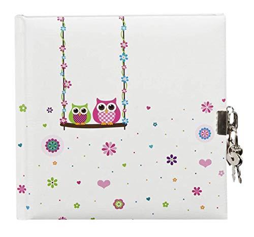 goldbuch 44043 - Tagebuch, Eule, 96 weiße Seiten, 16,5 x 16,5 cm, Schloss mit 2 Schlüsseln, Laminierter Kunstdruck, farblich sortiert