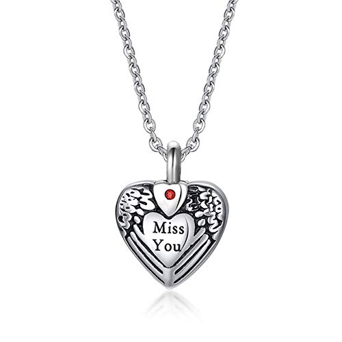 DQCY Collar de urnas conmemorativas en Forma de corazón Humano/Mascota Cofre de Ceniza Cremación Abrible Colgante Letras Miss You Love Corazón Collar
