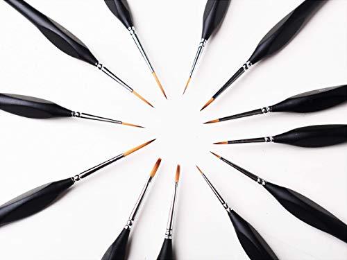 Premium Detail Pinsel, Detail Pinsel, Pinsel, feine Pinsel, Pinsel Set , 12 - teiliges Profi Detail Pinsel Set inkl. Aufbewahrungstasche aus Stoff, geeignet für Acryl, Öl, Textilfarbe und Aquarell